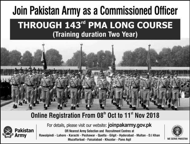 Pakistan Army Commissioned Officer Jobs 2018 143 PMA Long Course Last Date Apply Online