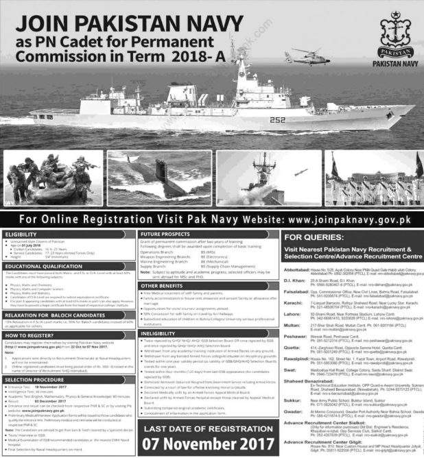 Join Pakistan Navy as PN Cadet Commission 2017 Online Registration Test Date Eligibility Criteria