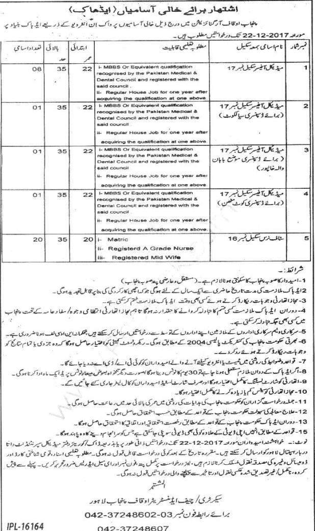 Punjab Auqaf Organization Jobs December 2017 Nurse Medical Officer Application Form Interview Schedule
