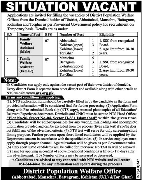 Kohistan Population Welfare Department PWD KPK Jobs December 2017 Application Form Merit List NTS Test Roll Number Slips Answer Key Result
