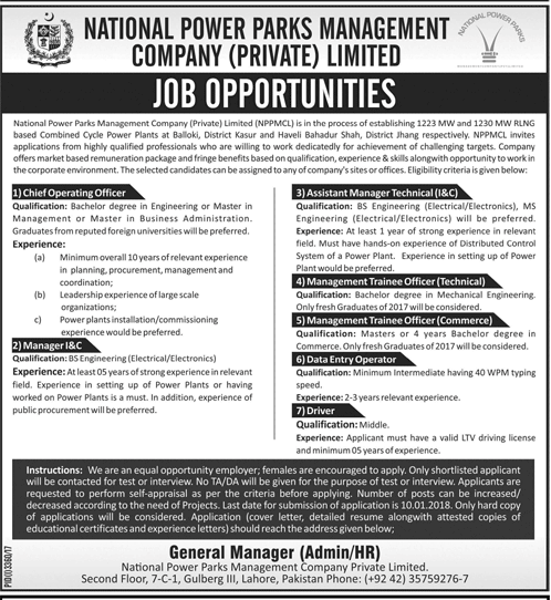 National Power Parks Management Company Limited NPPMCL Lahore Jobs 2021-18 Application Form Eligibility Criteria