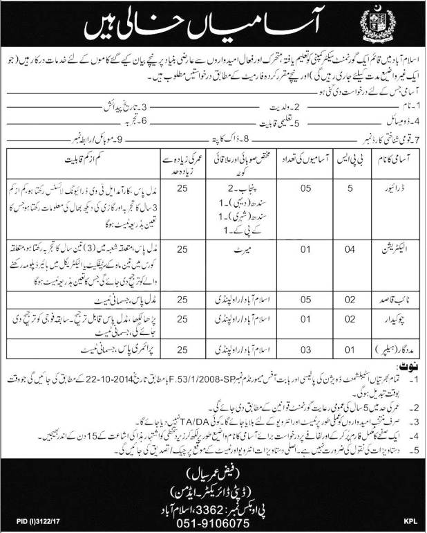 PO Box 3362 Islamabad Federal Government Organization Jobs 2017-2018 Driver Naib Qasid Application Form Eligibility Criteria