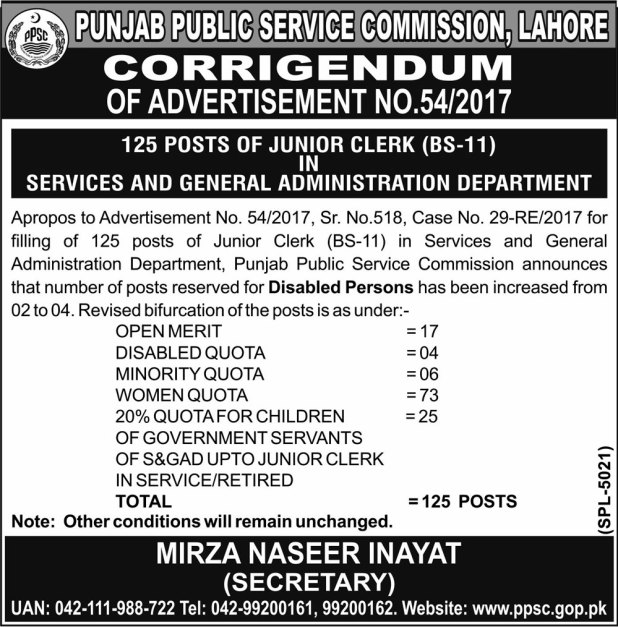 PPSC Services and General Administration Department S&GAD Punjab Jobs 2017-18 Online Apply Result Written Test