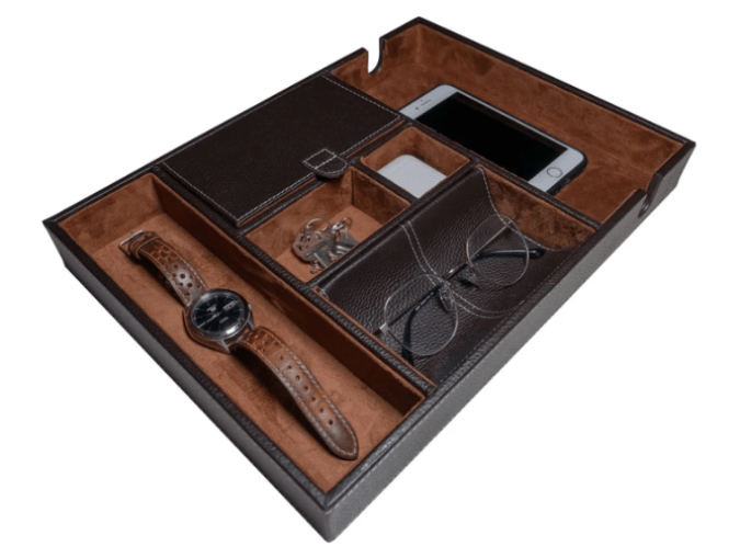 Gift Organiser option for men: Nomad Watch Works Leather Valet Tray