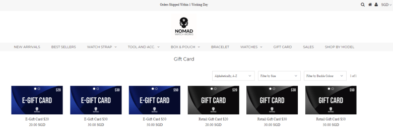 Nomad Watch Works Retail and Online Gift Cards