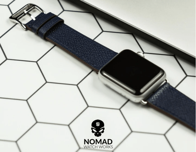 Gift Smart Watch Strap option: Apple Watch Leather Strap in Navy with Silver Buckle - Single Tour from Nomad Watch Works