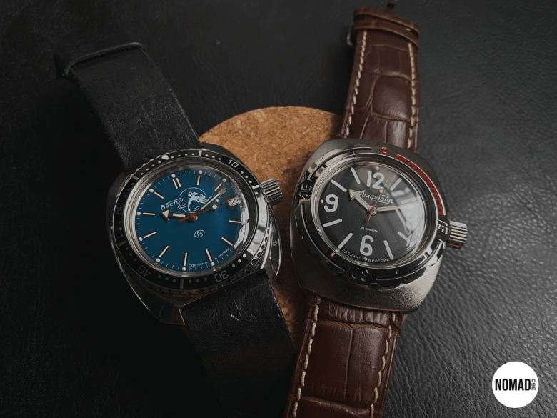 "Amphibia ""Scuba Dude"" Teal Dial (Left), Amphibia Model 090 (Right)"