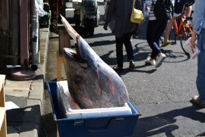 Big fishy beheaded in a market in Tokyo, Japan
