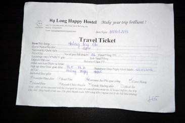 Sad travel ticket from Ha Long Happy Hostel, Ha Long City, Vietnam