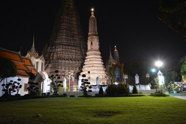 Temples at night in Bangkok, Thailand