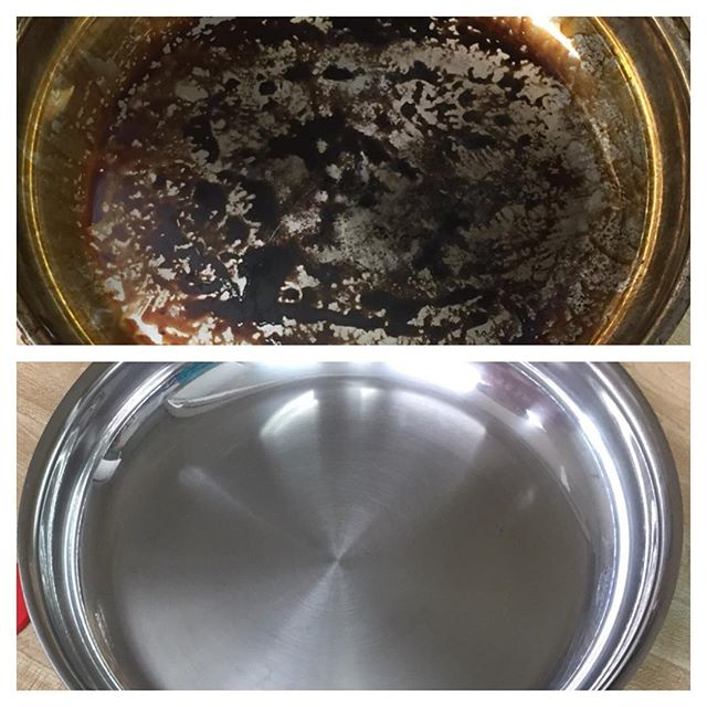 Bar Keeper's Friend cleans stainless steel pan