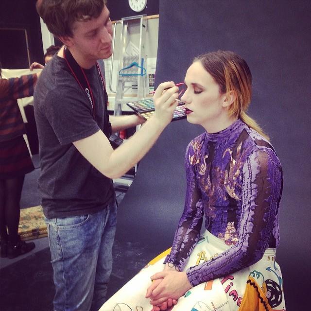 Tom Selmon applying Harry J Bartlett's makeup