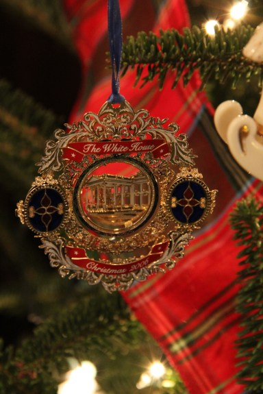 One of many years of the White House Christmas ornament on this tree.