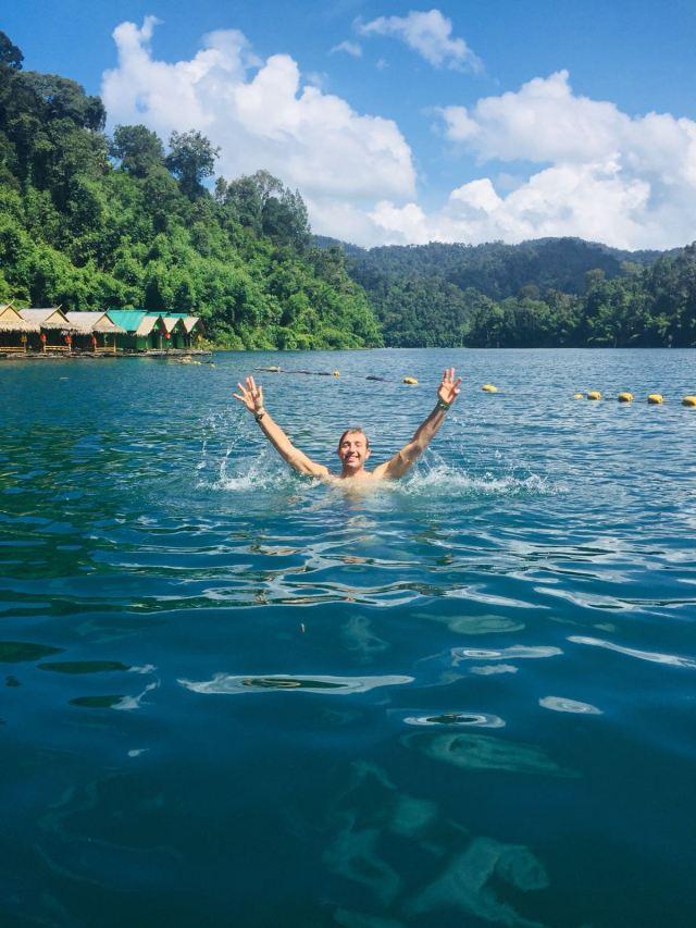 Khao Sok lake one day tour swimming