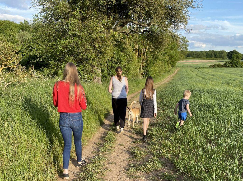 Family on a dog walk