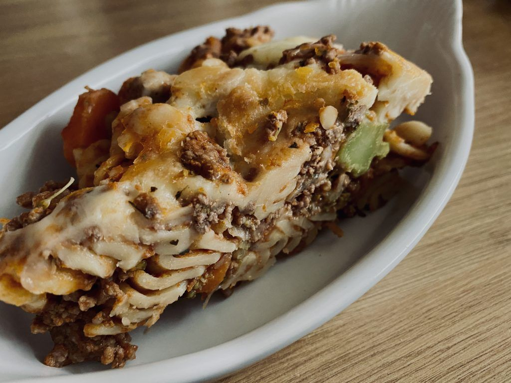 Bolognese Pasta bake in a serving dish
