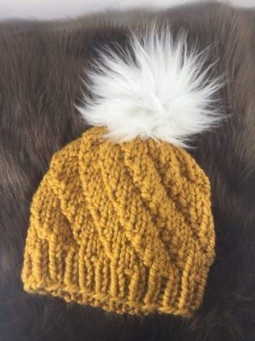 Knitted spiral beanie