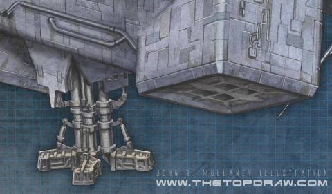Thruster and landing gear detail.