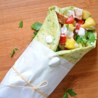 Chicken Spinach Flatbread Wraps with Grilled Pineapple Salsa
