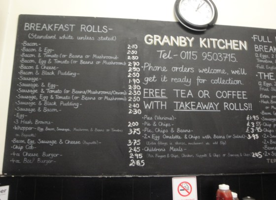 Granby Kitchen menu board