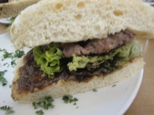 Cross sectiom Beef and Blue cheese sausage sandwich