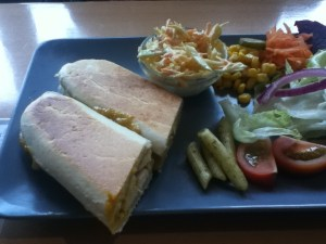 homemade coronation chicken panini