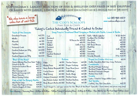Cods Scallops sample menu