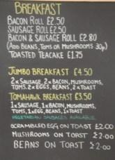 Breakfast Options at Chocs Away
