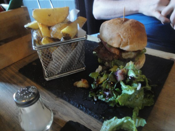 Golden Fleece Burger and sides