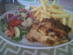 Moores Lasagna and Chips
