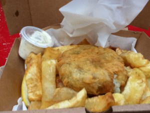 Fish Cake and Chips for 99p