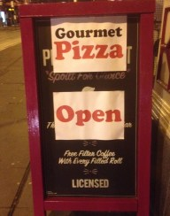 Gourmet Pizza - board sign