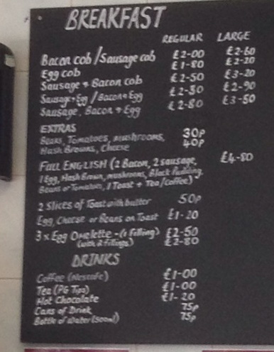 Breakfast Menu at Joes cafe and cob shop
