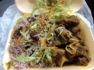 Mutton Curry with Rice and Peas