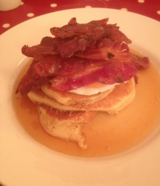 American Pancakes with Baocn and Maple Syrup