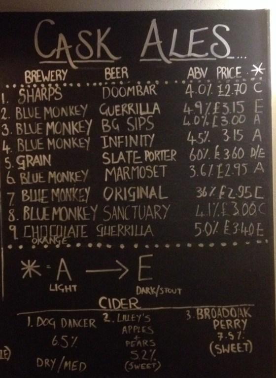 Chalkboard at the Organ Grinder Blue Monkey Beer