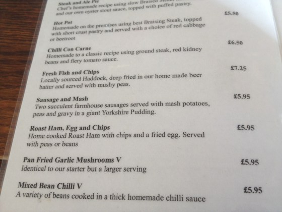 Menu at Sids in Fleetwood