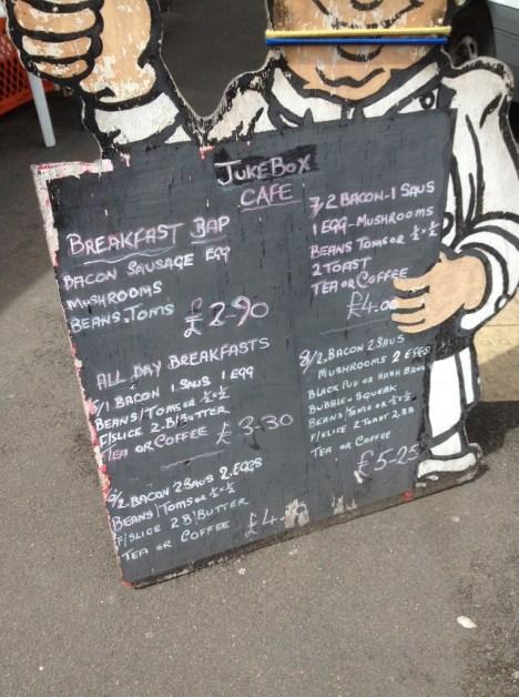 Jukebox Cafe chalk board