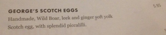 Georges Scotch Egg Menu