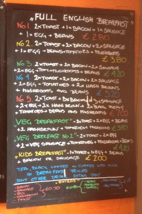 Breakfast Chalkboard at Jo's pancake House