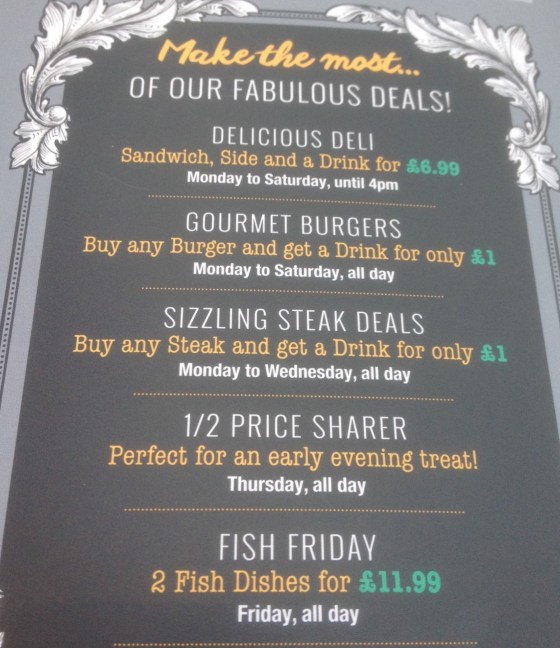 Menu Options at The Test Match in West Bridgford