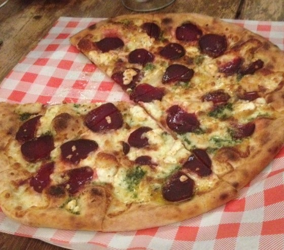 Goats Cheese, Beetroot and Garlic Pizza at Oscar and Rosies