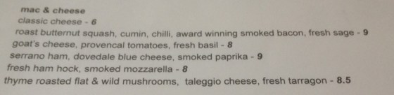 Mac and Cheese Menu at Oscars