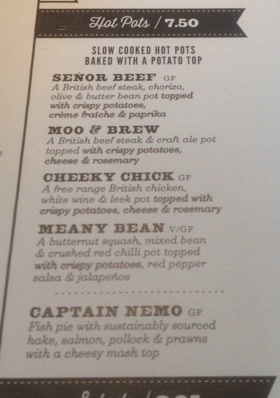 More Pieminister menu