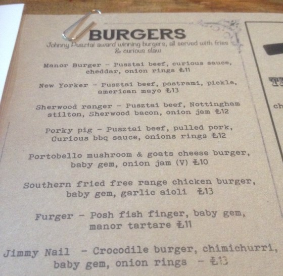 Burger Menu at the Curious Manor