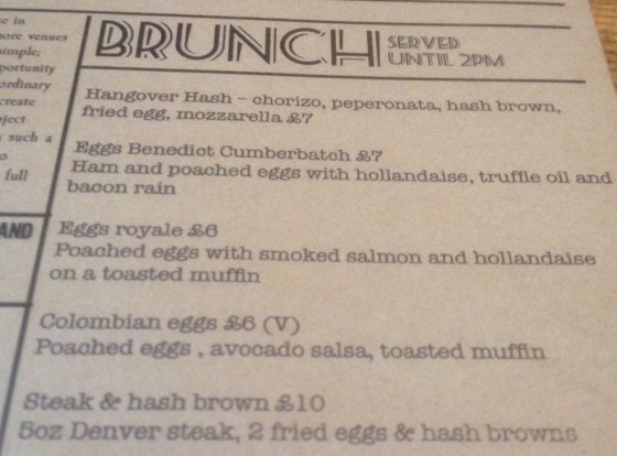Brunch Menu at The Curious Manor