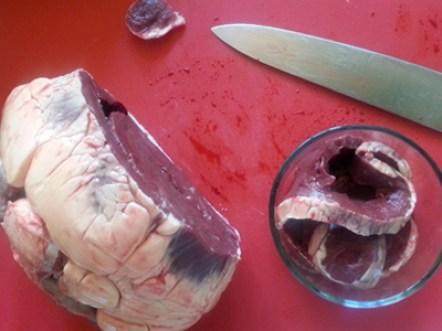 Heart steak slices