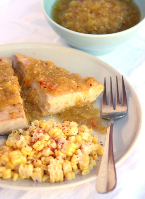 Albacore Steak with Roasted Tomatillo Sauce 1