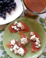 salmon-goat cheese and blueberries low-carb breakfast