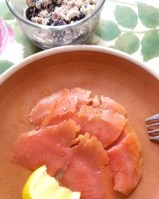 wild caught smoked salmon and blueberry goat cheese